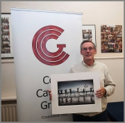 Charlie O'Donovan pictured with his image - best colour image of Photographer of the Year 2016